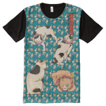 Vintage Kuniyoshi Japanese Cats Pattern All-Over-Print T-Shirt