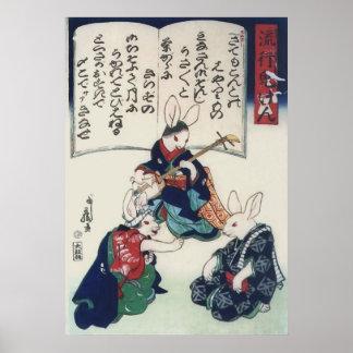 Vintage Kuniyoshi Ken Rabbit Epidemic Fine Art Poster