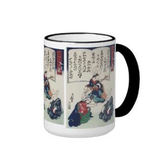 Vintage Kuniyoshi Ken Rabbit Epidemic Fine Art Ringer Coffee Mug