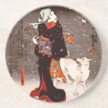 Vintage Kuniyoshi Woman and Dog in Snow Fine Art Coasters