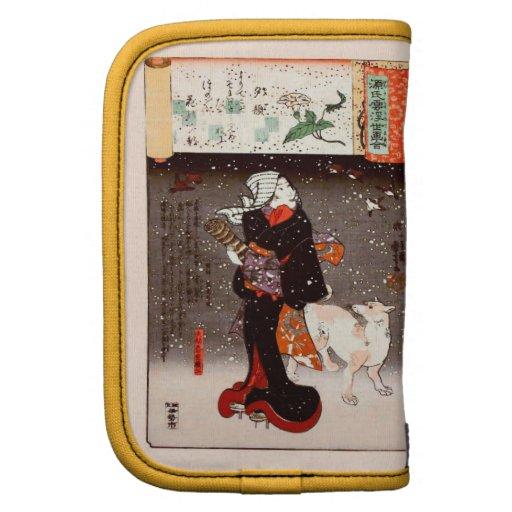 Vintage Kuniyoshi Woman and Dog in Snow Fine Art Folio Planner