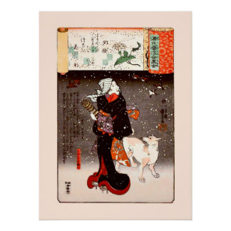 Vintage Kuniyoshi Woman and Dog in Snow Fine Art Poster