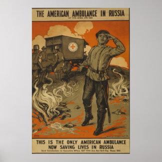 Vintage la ambulancia americana en Rusia Póster