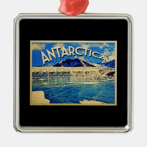 Vintage la Antártida South Pole Adorno Cuadrado Plateado