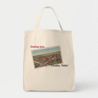 Vintage la bolsa de asas de la postal de Omaha,