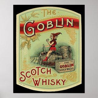 """Vintage """"la etiqueta del whisky escocés del Goblin Póster"""