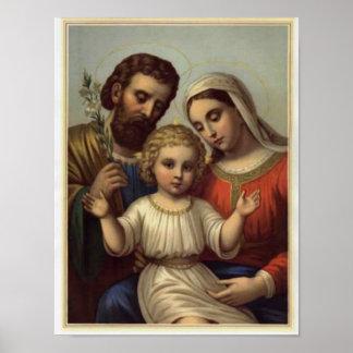 vintage la familia santa, Jesucristo, José, Maria