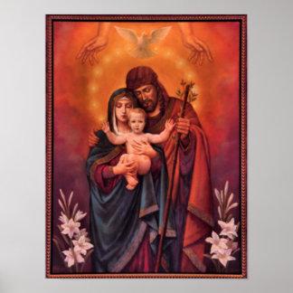 vintage la familia santa, Jesucristo, José, Maria Póster