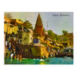 Vintage, la India, Benares, río el Ganges Tarjeta Postal