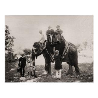 Vintage la India, viajando por el elefante Postal