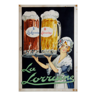 Vintage La Lorraine French Beer Advertising Poster