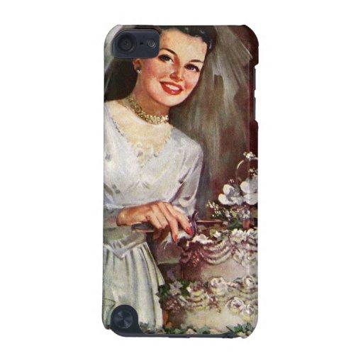 Vintage la novia hermosa y su pastel de bodas