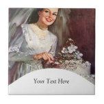 Vintage la novia hermosa y su pastel de bodas azulejos cerámicos