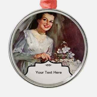 Vintage la novia hermosa y su pastel de bodas ornato