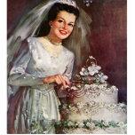 Vintage la novia hermosa y su pastel de bodas esculturas fotográficas