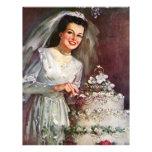 Vintage la novia hermosa y su pastel de bodas flyer personalizado