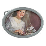 Vintage la novia hermosa y su pastel de bodas hebilla de cinturon oval