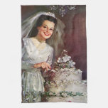 Vintage la novia hermosa y su pastel de bodas toalla de mano