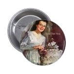 Vintage la novia hermosa y su pastel de bodas pin