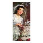 Vintage la novia hermosa y su pastel de bodas diseños de tarjetas publicitarias