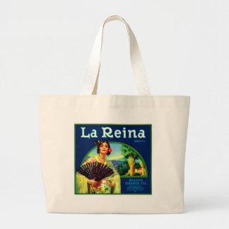 Vintage La Reina Orange Label Large Tote Bag