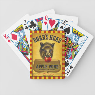 """""""Vintage Label~1940's Boar's Head Apple Wine"""" Bicycle Playing Cards"""