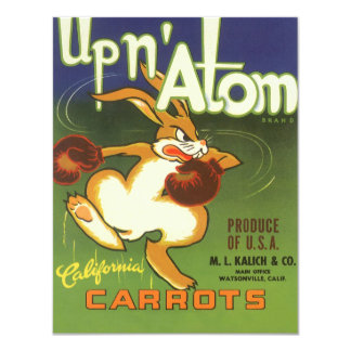Vintage Label Art Boxing Rabbit, Up n Atom Carrots Card