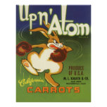 Vintage Label Art Boxing Rabbit, Up n Atom Carrots Poster