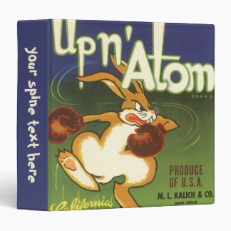 Vintage Label Art, Up n Atom Carrots Boxing Rabbit 3 Ring Binder
