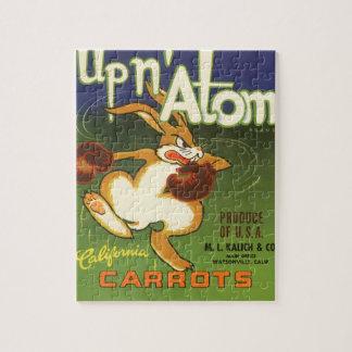 Vintage Label Art, Up n Atom Carrots Boxing Rabbit Jigsaw Puzzle