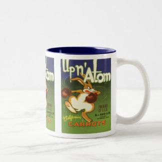 Vintage Label Art, Up n Atom Carrots Boxing Rabbit Two-Tone Coffee Mug