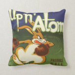 Vintage Label Art, Up n Atom Carrots Boxing Rabbit Throw Pillow