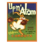 Vintage Label Art, Up n Atom Carrots Boxing Rabbit Postcard
