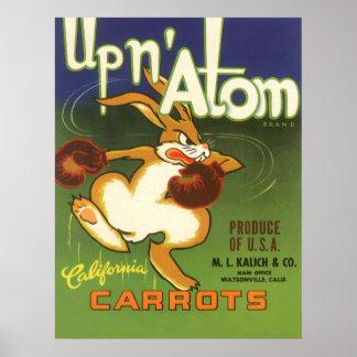 Vintage Label Art, Up n Atom Carrots Boxing Rabbit Poster