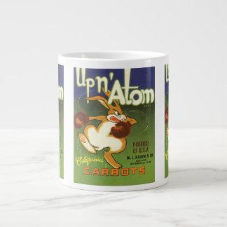 Vintage Label Art, Up n Atom Carrots Boxing Rabbit 20 Oz Large Ceramic Coffee Mug