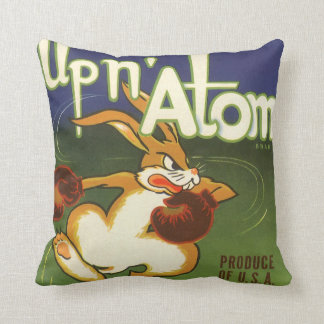 Vintage Label Art, Up n Atom Carrots Boxing Rabbit Throw Pillow