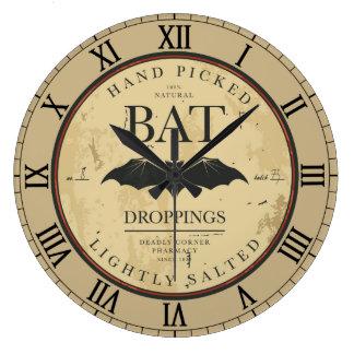 Vintage Label Halloween Bat Wall Clock