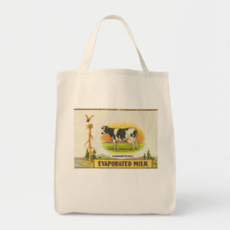 vintage label holstein cow evaporated milk tote bag