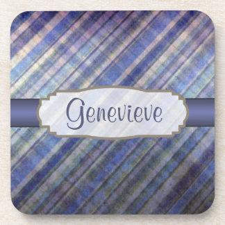 Vintage Label on Lavender and Blue Damask Stripes Beverage Coaster