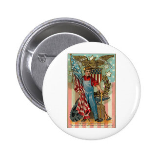 Vintage Labor Day 2 Inch Round Button