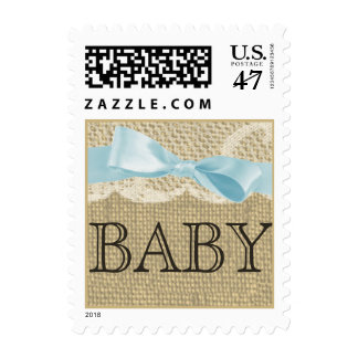 Vintage Lace and Baby Blue Bow Postage