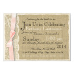 Vintage Lace and Blush Bow Bridal Shower 5x7 Paper Invitation Card