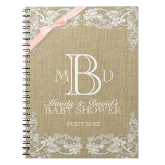 Vintage Lace and Blush Bow Guest Book Notebook