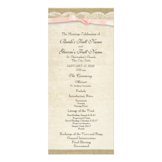 Vintage Lace and Blush Bow Wedding Program