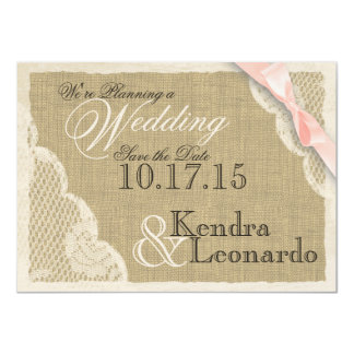 "Vintage Lace and Blush Pink Bow Save the Date 4.5"" X 6.25"" Invitation Card"