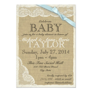 Vintage Lace and Bow Baby Shower Blue 5x7 Paper Invitation Card