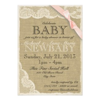 Vintage Lace and Bow Baby Shower Blush Pink Custom Invites