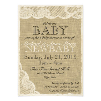 Vintage Lace and Bow Baby Shower Card