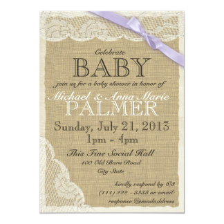 Vintage Lace and Bow Baby Shower Purple Announcements