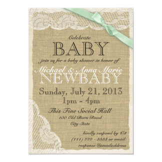 Vintage Lace and Bow Baby Shower Soft Green Card